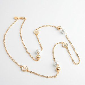 Tory Burch Lacquered Logo White Long Necklace